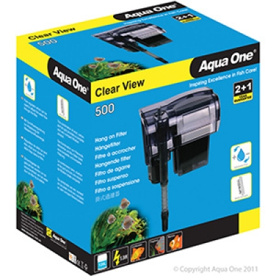 Aqua One Clear View 500 Hang On Filter 500L/Hr