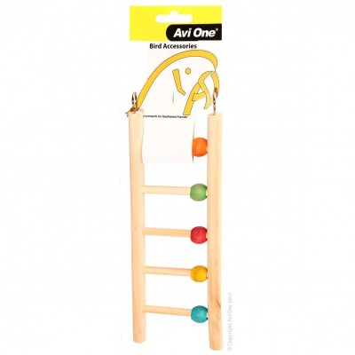 Avi One Bird Toy Wooden Ladder 7 Rung with Beads