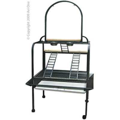 Avi One Parrot Stand Deluxe Silver Black 101x69x200cm