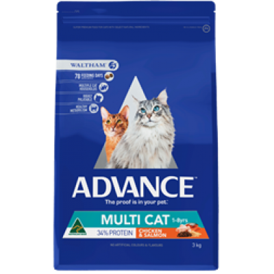 Advance Dry Cat Food Adult Multicat Chicken Salmon 3kg