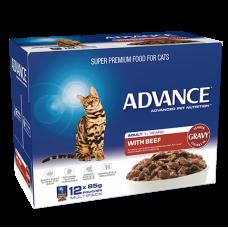 Advance Wet Cat Food Beef with Gravy 85g 12pk