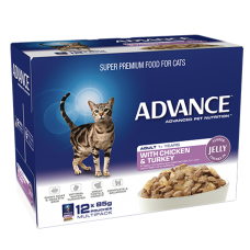 Advance Wet Cat Food Chicken Turkey in Jelly 85g 12pk