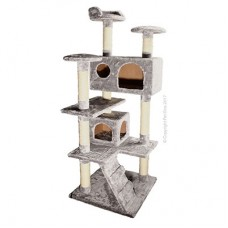 Pet One Cat Scratching Post 4 Tier 2 Cubby Grey