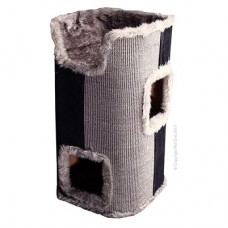 Pet One Cat Scratching Cylinder 2 Cubby with Bed Grey
