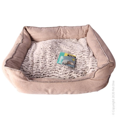 Pet One Bedding Classic Lounger Linen Coffee Large