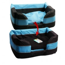 Pet One Stay Dry Dog Basket Bed Black Blue XXL