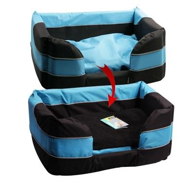 Pet One Stay Dry Dog Basket Bed Black Blue Large