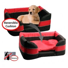 Pet One Stay Dry Dog Basket Bed Black Red XXL