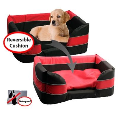 Pet One Stay Dry Dog Basket Bed Black Red Medium