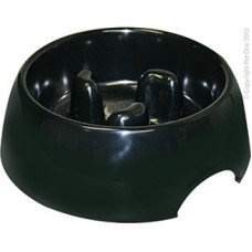 Pet One Bowl Melamine Round Slow Down Feeder 300ml Black