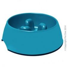 Pet One Bowl Melamine Round Slow Down Feeder 300ml Turquoise