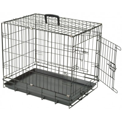 Dog Crate Collapsible Black XLarge 48 Inch