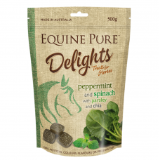 Equine Pure Delights Horse Treat Peppermint Spinach Parsley 500g