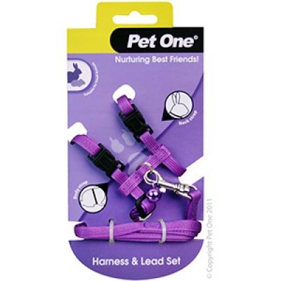 Pet One Lead Harness Set Rabbit Guinea Pig Ferret Purple