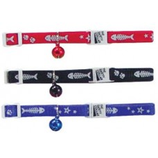 Beaupet Cat Collar Adjustable Fish, Paw, Star Red